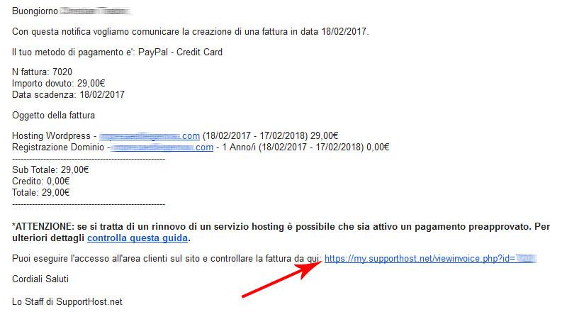 email con link fattura