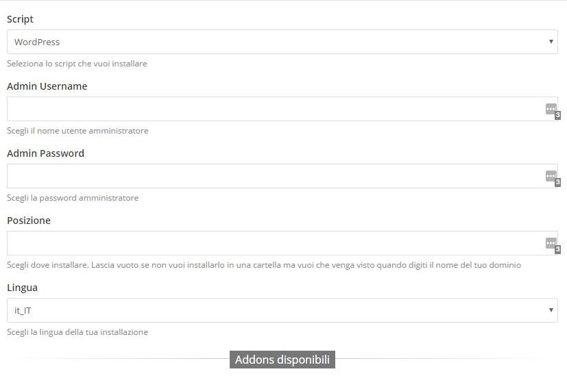imposta dati wordpress