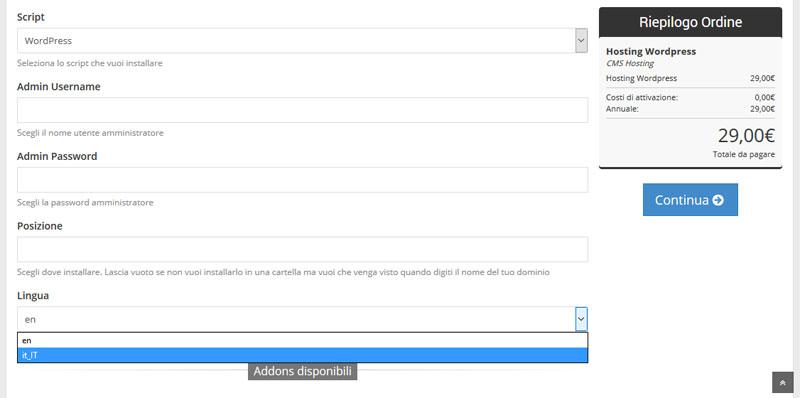 imposta user wordpress