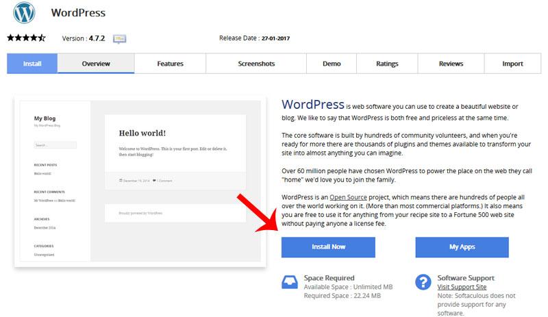 installa wordpress softaculous