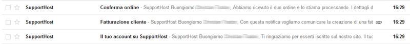 ricezione conferma ordine hosting