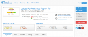 Performance Report GTmetrix